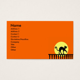 Black Cat Fence Moon Business Card