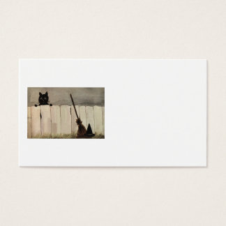 Black Cat Fence Witch's Broom Hat Business Card