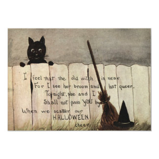 Black Cat Fence Witch's Broom Hat 5x7 Paper Invitation Card