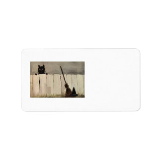 Black Cat Fence Witch's Broom Hat Label