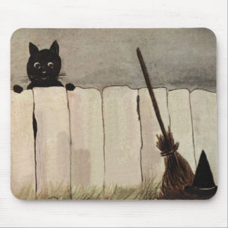 Black Cat Fence Witch's Broom Hat Mouse Pad