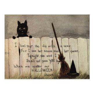 Black Cat Fence Witch's Broom Hat Postcard