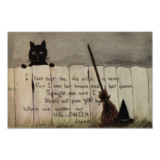 Black Cat Fence Witch's Broom Hat Poster