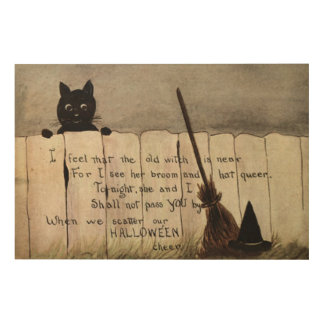 Black Cat Fence Witch's Broom Hat Wood Wall Decor