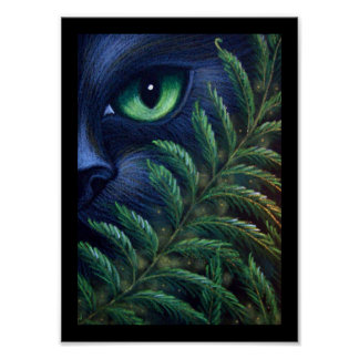 BLACK CAT & FERNS Poster