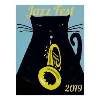Black Cat  Fest with Trumpet Poster