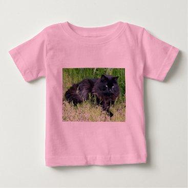 McTiffany Tiffany Aqua Black cat fluffy long hair feline regal proud baby T-Shirt