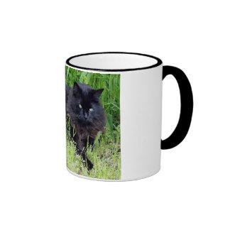 Black cat fluffy long hair feline regal proud ringer mug