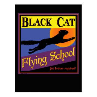 Black Cat Flying School Halloween Greeting Card