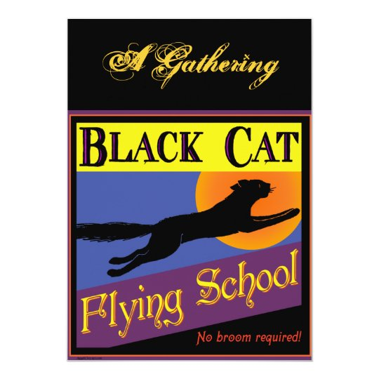 Black Cat Flying School Halloween Invitations