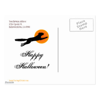 Black Cat Flying School Happy Halloween Postcard