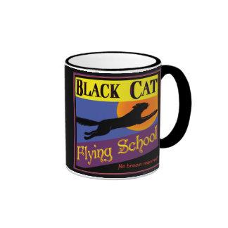 Black Cat Flying School Vintage Halloween Art Mugs