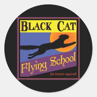 Black Cat Flying School Vintage Halloween Art Round Stickers