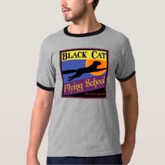 Black Cat Flying School Vintage Halloween Art T Shirt
