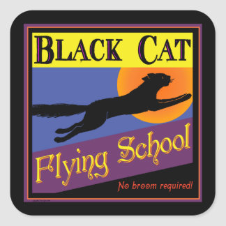 Black Cat Flying School Vintage Halloween Sticker Stickers