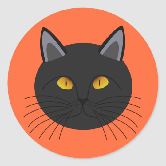 Black Cat for Halloween Classic Round Sticker