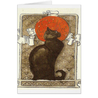 black cat French Vintage Card