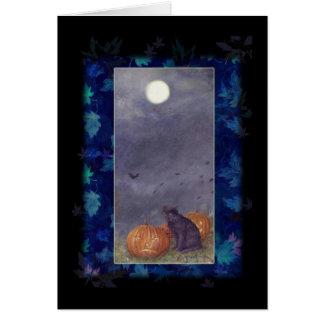BLACK CAT FULL MOON HALLOWEEN GREETING CARD