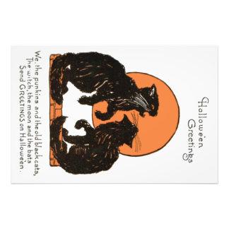 Black Cat Full Moon Orange Black Photo Print