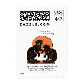 Black Cat Full Moon Orange Black Postage