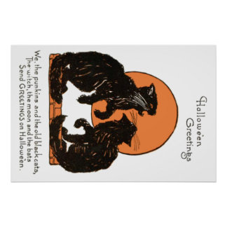 Black Cat Full Moon Orange Black Poster