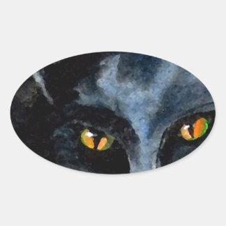Black Cat Fun Art Cats Love CricketDiane Oval Sticker