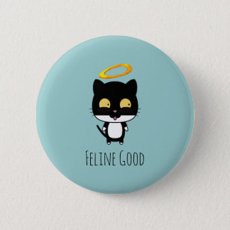 Black Cat Funny Pun With Halo - Feline Good Pinback Button