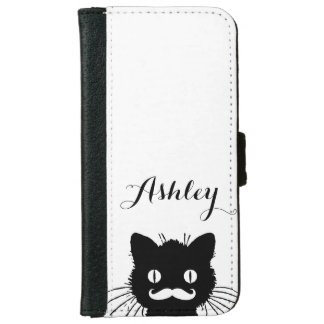 Black Cat Funny White Mustache Personalized iPhone 6 Wallet Case