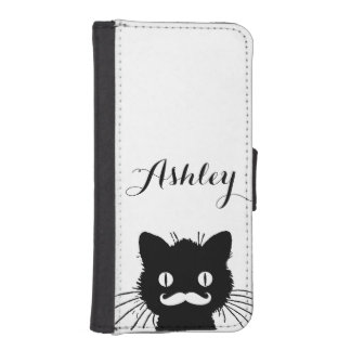 Black Cat Funny White Mustache Personalized iPhone 5 Wallet Cases