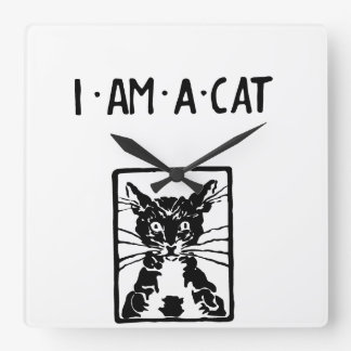Black Cat Gifts Square Wall Clock
