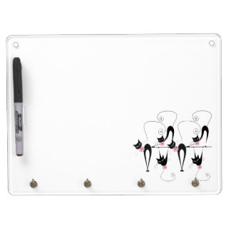 Black cat girly pink dry erase board
