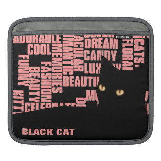 black cat, girly words iPad sleeve