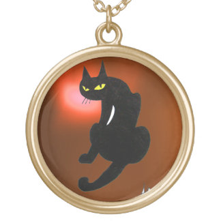 BLACK CAT GOLD PLATED NECKLACE