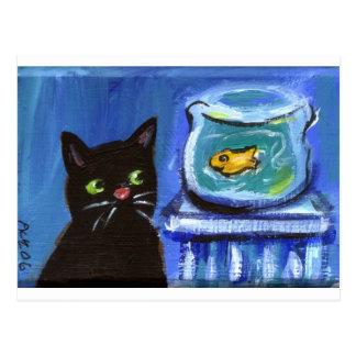Black Cat goldfish Postcard