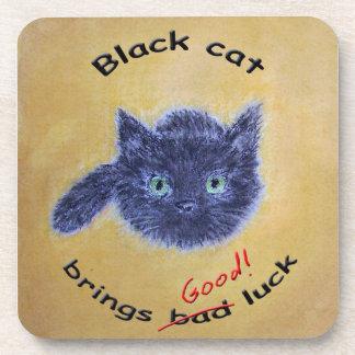 Black cat good luck beverage coaster