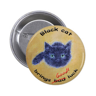 Black cat good luck pinback button