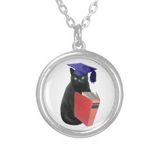 Black Cat Grad Silver Plated Necklace