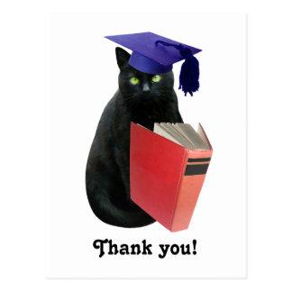 Black Cat Grad Thank You Postcard
