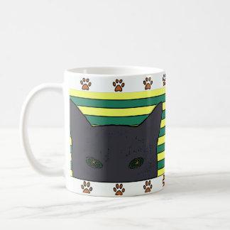 Black cat/green and yellow stripes, paw print coffee mug