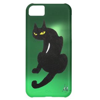 BLACK CAT  green Case For iPhone 5C