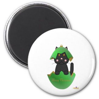 Black Cat Green Christmas Ornament Merry Christmas 2 Inch Round Magnet