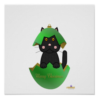 Black Cat Green Christmas Ornament Merry Christmas Posters