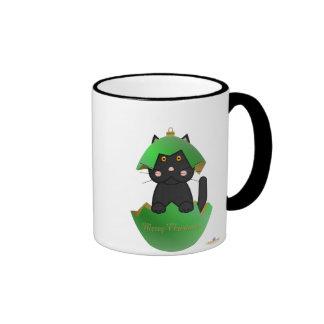 Black Cat Green Christmas Ornament Merry Christmas Ringer Mug
