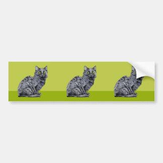 Black Cat green cutout Sticker Bumper Sticker