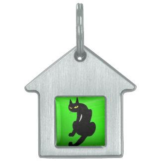 BLACK CAT  ,Green Emerald Pet Tag