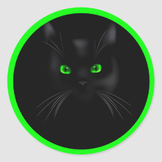 Black Cat Green Eyes Classic Round Stickers