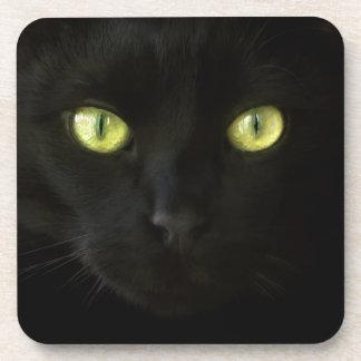 Black Cat Green Eyes coasters
