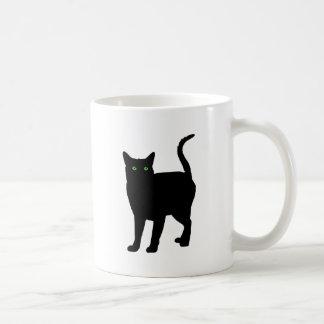 Black Cat Green Eyes Coffee Mugs