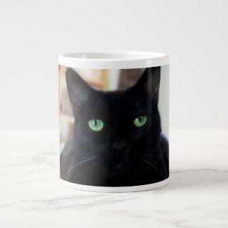Black cat - green eyes - mug