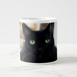 Black cat - green eyes - mug jumbo mugs